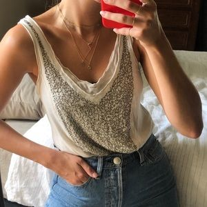 Urban Outfitters Sequin Front Soft Tank